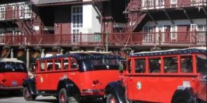 Buses at Glacier Park Lodge
