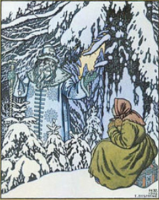 Father Frost acts as a donor in the Russian fairy tale Father Frost, testing the heroine before giving her riches.