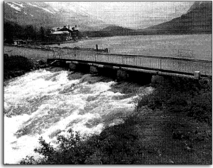 Swiftcurrent Bridge, which provides access to Many Glacier Hotel, was losing its structural integrity, had a cracked deck, and could no longer handle high water.  - NPS photo from the park planning document