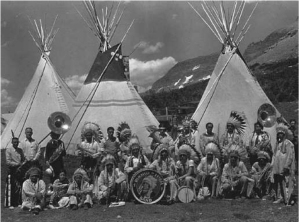 Blackfeet at the July 15, 1933 dedication of Going to the Sun Road, photo by George A. Grant, NPS photo archives.