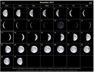 Click on this lunar calendar to find the calendar for any month.